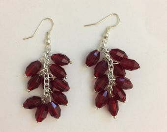 Blood red ruby crystal angle cluster earrings with silver French ear wires