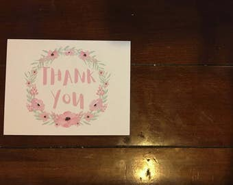 Thank You Card, Greeting Card, Floral Thank You Card