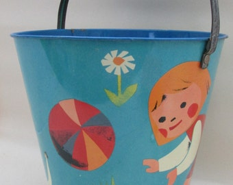 Original 1960s Vintage Child's Large Tin Brightly Painted Seaside Bucket