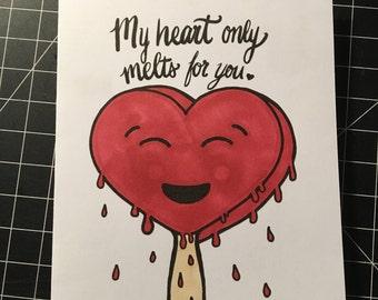 Melting Heart Popsicle Love Card