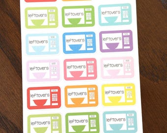 Leftovers Planner Stickers - Meal Planning Stickers - Food Planner Stickers - Microwave Stickers - Meal Plan Planner Stickers