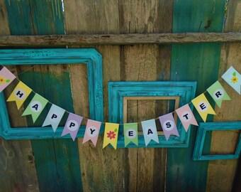 Happy Easter Banner Garland Bunting Handmade-Cardstock Paper