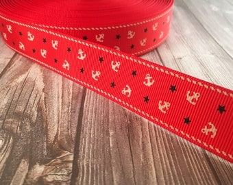 "Nautical ribbon - Red white navy - Anchors and stars - 1"" grosgrain ribbon - 3 or 5 yard lot -Nautical colors - By the sea - Out to sea"