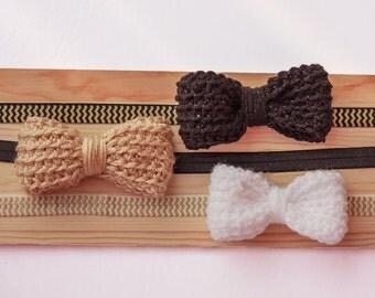 Gold and Black Crochet Bow headband
