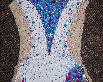 Made to Measure  Exclusive Custom Rhythmic Gymnastic Leotard 5000 crystals & glooves