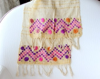 Antique handwoven hand towel Hand embroidered textile art Turkish towel Large Napkin Table runner Coffee table cloth Wall hanging