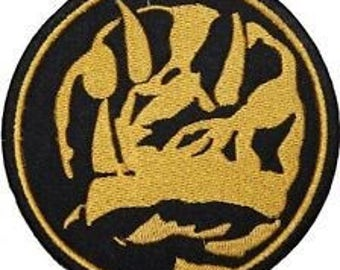 Blue Power Ranger Coin Patch Embroidered Iron on Badge Mighty Morphin Power Rangers Emblem T-Rex Costume Applique Motif Dino Thunder