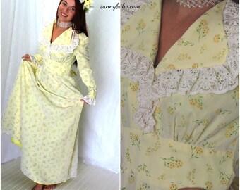 Vintage 60s boho yellow flower maxi dress S 1960s long hippie floral wedding gown vintage country prairie maxi dress SunnyBohoVintage