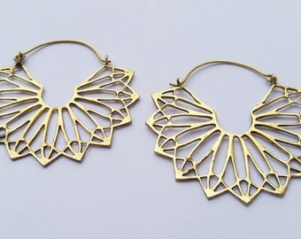 Large Brass Earrings, Hoop earrings, Boho Earrings, Gold Earrings, Gypsy Earrings, Boho Jewellery, Earrings