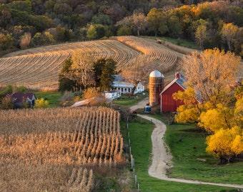 Iowa Farmscape - harvest season - corn fields - farming & agriculture - Iowa landscapes - canvas print