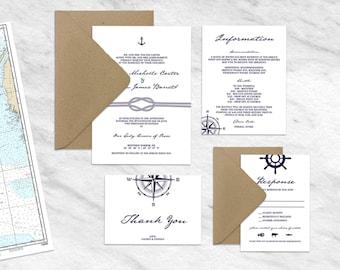 Nautical Wedding Invitation, Nautical Wedding Invitations Template, Anchor Wedding Invites, Printable Nautical Wedding Suite, Navy Blue