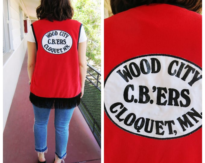 Red Biker Vest 70's Boho Rocker Badass Cloquet Minnesota Cut Motorcycle Club
