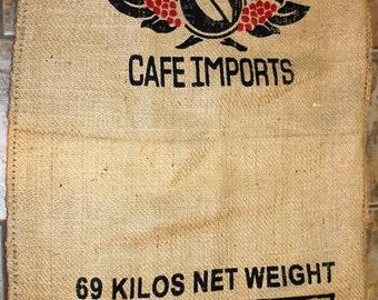 Burlap Coffee Sack ~ Bag ~ Jute Gunny Sack ~ Sturdy Heavy Fabric ~ Coffee Packaging