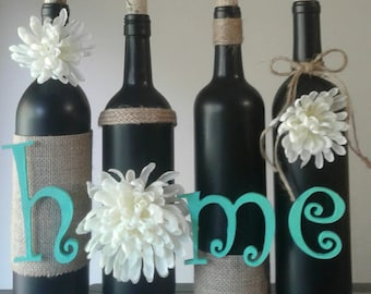 green and black, house warming gift, wine bottle gift, wine bottle craft, wine bottle idea, wine bottle crafts, rustic, wine bottle, burlap