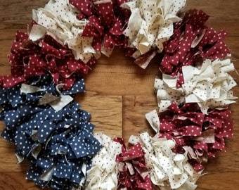 American flag wreath, American flag rag wreath, patriotic flag, rag wreath, 4th of July wreath, fabric wreath, Americana wreath