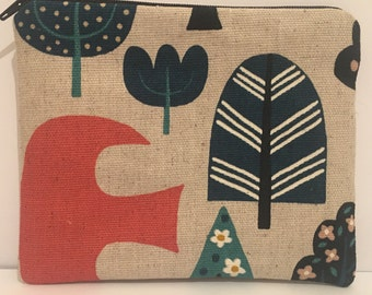 Bird and trees print coin purse