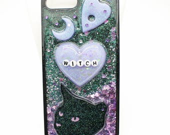 Iphone 7 Plus Witch Cat Ouija Phone Case - Glitter Resin Phone Case - Bumper case - Waterfall Case - Pastel Goth