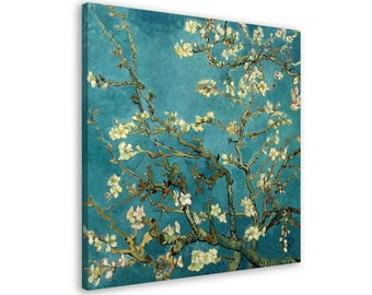 Van Gogh - Blossoming Almond Tree - Framed Wall Art Reproduction Canvas Print // 8 Sizes // High Quality // Free, Fast & Safe Shipping