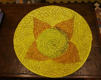 Yellow Native American Basket/ Four Point Star Pattern/ Basket with Flower Design