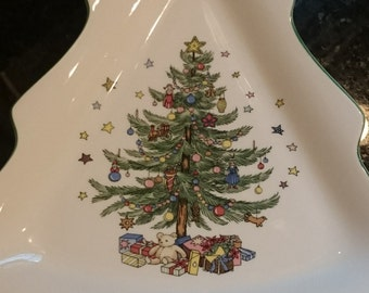 Vintage Nikko Christmas Tree Dish/ Christmas Tree Serving Dish/ Cookies for Santa/ Made in Japan