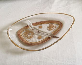 Vintage Georges Briard Gold Detail Relish Dish