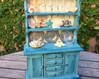 Miniature Beach hutch, Dollhouse kitchen furniture, Custom dollhouse furniture