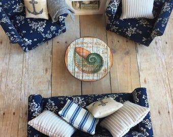 Dollhouse coffee table, Miniature side table, Dollhouse beach table