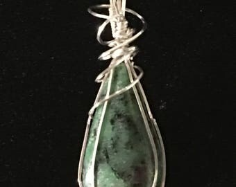 Ruby in Zoisite and Sterling Silver Wire Wrapped Pendant