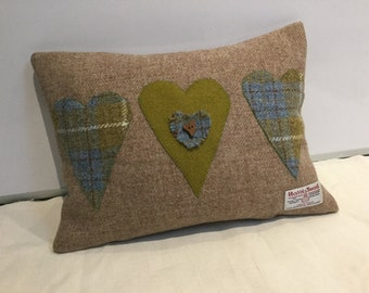 Hand made Harris Tweed heart appliqué cushion, Valentines, Mothers Day, home decor, gift