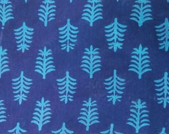 Block Print Fabric, Indian Fabric, Indigo Fabric,Boho Print, Indian Cotton, Turquoise print, Navy Blue Fabric By the Yard, Tribal Print