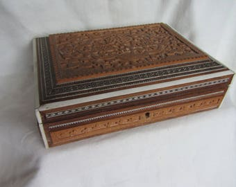 Vintage/Antique Anglo Indian colonial hand carved and mosaic inlaid sandalwood box for jewelry, trinkets, office etc