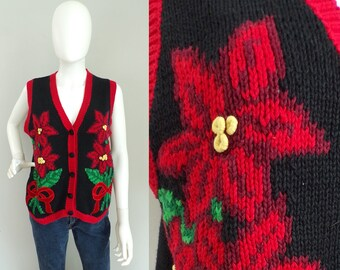 Vintage Red Poinsettia Christmas Sweater Vest Size Small, Red Flowers, Button Vest, Christmas Vest, Ugly Christmas, Poinsettias, Eagles Eye