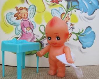 "Vintage Sink Blue Plastic Dollhouse Furniture 60s Retro Aqua Vanity Stand ""Plasco"" Toys Doll Bathroom Turquoise Miniature Wash Basin Gift"