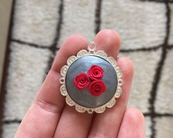 Red Roses Polymer Clay Necklace with Chain