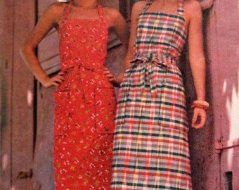 1970 Butterick 4231 Wrap and Go APRON DRESS Retro Boho Hippie Size Small 8-10