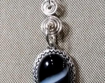 Onyx with Diagonal Stripe Choker Necklace