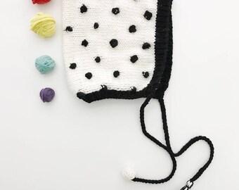 Hand knit baby 0-3 month bobble bubble bonnet hat