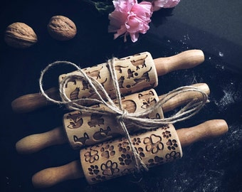 SET of 3 SMALL ROLLING pins, embossing rolling pin, engraved rolling pin by laser