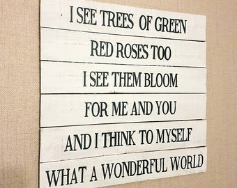 Wonderful World Lyrics Slat Board, Rustic Wedding or Home