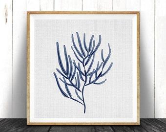 Indigo Blue Square Coral Print, Coastal Decor, Seaweed Illustration, Beach Nautical, Printable Digital Download, Sea Pulp, Ocean Plant Life