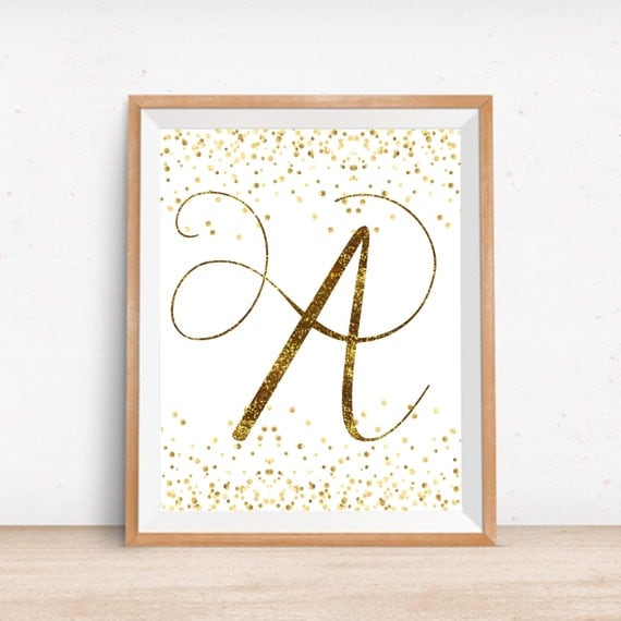 Nursery gold letter a printable monogram gold wall decor for Gold wall decor letters