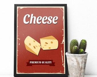 Cheese Wall Decor, Cheese Kitchen Wall Art, Kitchen Retro Art, Kitchen Poster Instant Download, Cheese Printable Art, Cheese Kitchen Decor