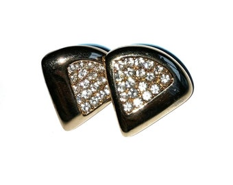 Gold with Diamonds Vintage Earrings //Retro Earrings