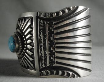 Extra Detailed Vintage Navajo Turquoise Silver Bracelet