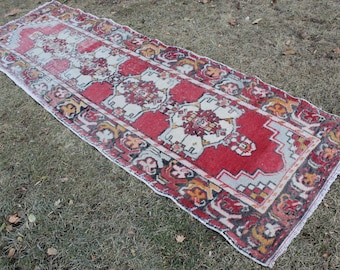 "Vintage Turkish Oushak Runner, Handmade Distressed Hallway Wool Turkish Red Runner Rug, Anatolian Red Oushak Wool  Rug 310x95cm,124""x38"""