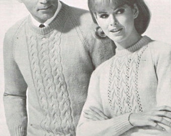 Vintage knitting pattern for Men and Women - Cable knit sweater pattern - His and Hers - 60s 1960s  PDF matching sweaters
