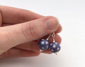 Purple drop earrings / lampwork bead earrings / everyday earrings / dainty earrings / purple jewellery gift for her / birthday gift
