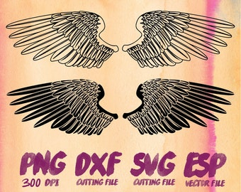 Angel Wings Silhouette , SVG Cutting , ESP Vectors files , T shirt , iron on , sticker ,Personal Use