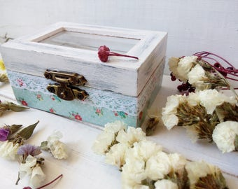 Engagement box Rustic Wedding décor Personalized wedding box with glass Cottage chic ring box Ring holder Engagement gift Ring bearer pillow