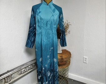 VINTAGE: Handmade Chinese Floral Asian  Dress / Turquoise Asian.{H1-243#00900}